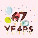 67th Years Happy Birthday card. Vector illustration vector illustration
