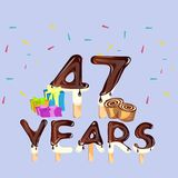 47th Years Happy Birthday card Stock Images