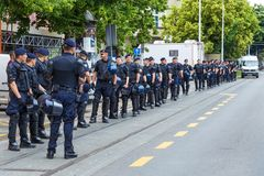 15th Zagreb pride. Group of intervention policemen in the street. ZAGREB, CROATIA - JUNE 11, 2016: 15th Zagreb pride. Group of intervention policemen in the Royalty Free Stock Images