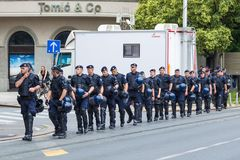 15th Zagreb pride. Group of intervention policemen in the street. ZAGREB, CROATIA - JUNE 11, 2016: 15th Zagreb pride. Group of intervention policemen in the Royalty Free Stock Photography