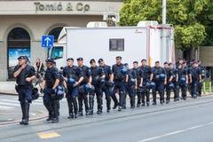 15th Zagreb pride. Group of intervention policemen in the street. ZAGREB, CROATIA - JUNE 11, 2016: 15th Zagreb pride. Group of intervention policemen in the royalty free stock photography