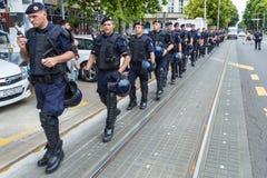 15th Zagreb pride. Group of intervention policemen in the street. ZAGREB, CROATIA - JUNE 11, 2016: 15th Zagreb pride. Group of intervention policemen in the royalty free stock image