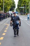 15th Zagreb pride. Group of intervention policemen in the street. ZAGREB, CROATIA - JUNE 11, 2016: 15th Zagreb pride. Intervention policemen in front of Mimara Royalty Free Stock Photo