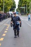 15th Zagreb pride. Group of intervention policemen in the street. ZAGREB, CROATIA - JUNE 11, 2016: 15th Zagreb pride. Intervention policemen in front of Mimara royalty free stock photo
