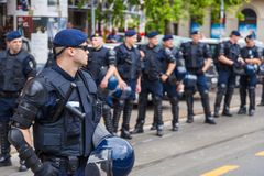 15th Zagreb pride. Intervention policemen in front of Mimara museum securing LGBTIQ activists and supporters during the gay pride. ZAGREB, CROATIA - JUNE 11 royalty free stock photography