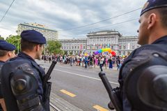 15th Zagreb pride. Intervention policemen in front of Mimara museum securing LGBTIQ activists and supporters during the gay pride. ZAGREB, CROATIA - JUNE 11 stock image