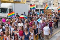 15th Zagreb pride. LGBTIQ activists on Ban Josip Jelacic square. ZAGREB, CROATIA - JUNE 11, 2016: 15th Zagreb pride. LGBTIQ activists on Ban Josip Jelacic stock photography