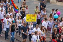 15th Zagreb pride. LGBTIQ activists on Illica street heading to main square. ZAGREB, CROATIA - JUNE 11, 2016: 15th Zagreb pride. LGBTIQ activists on Illica royalty free stock photo