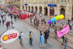 15th Zagreb pride. LGBTIQ activists on Illica street heading to main square. ZAGREB, CROATIA - JUNE 11, 2016: 15th Zagreb pride. LGBTIQ activists on Illica stock photos