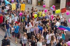 15th Zagreb pride. LGBTIQ activists on Illica street heading to main square. ZAGREB, CROATIA - JUNE 11, 2016: 15th Zagreb pride. LGBTIQ activists on Illica royalty free stock images