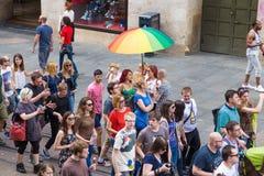 15th Zagreb pride. LGBTIQ activists on Illica street heading to main square. ZAGREB, CROATIA - JUNE 11, 2016: 15th Zagreb pride. LGBTIQ activists on Illica royalty free stock photos