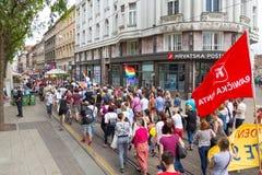 15th Zagreb pride. LGBTIQ activists on Jurisiceva street. ZAGREB, CROATIA - JUNE 11, 2016: 15th Zagreb pride. LGBTIQ activists on Jurisiceva street royalty free stock photography