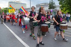 15th Zagreb pride. LGBTIQ activists playing drums. ZAGREB, CROATIA - JUNE 11, 2016: 15th Zagreb pride. LGBTIQ activists playing drums stock photos
