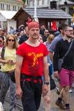 15th Zagreb pride. LGBTIQ activists on street. ZAGREB, CROATIA - JUNE 11, 2016: 15th Zagreb pride. LGBTIQ activists on Ban Josip Jelacic square stock photos