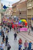 15th Zagreb pride. LGBTIQ activists on street. ZAGREB, CROATIA - JUNE 11, 2016: 15th Zagreb pride. LGBTIQ activists on Illica street heading to main square stock photos
