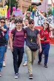 15th Zagreb pride. LGBTIQ activists on street. ZAGREB, CROATIA - JUNE 11, 2016: 15th Zagreb pride. LGBTIQ activists on street royalty free stock image