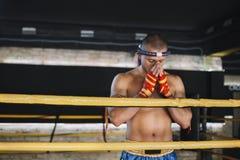 Thaïlandais de Muay de combattant cintré dans l'anneau Image libre de droits