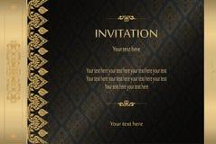 Or thaïlandais sur la carte de luxe noire d'invitation de fond d'abrégé sur vecteur de vintage, carte de voeux, célébration, féli illustration libre de droits