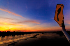 Tha Chin River Bridge. Look at the sunsets on the Tha Chin River in Thailand Royalty Free Stock Photo