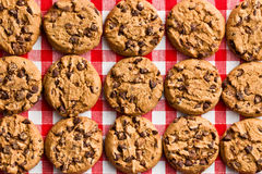 Chocolate cookies on checkered tablecloth Stock Photo