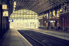 Morning rail station Royalty Free Stock Photos