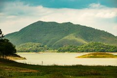 Tha lake with mountain range. Beautiful scenary of lake with mountain range in Kaeng Krachan National Park, Phetchaburi, Thailand Stock Photos