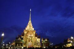 Tha royal de religion historique funèbre de nuit de construction Photographie stock