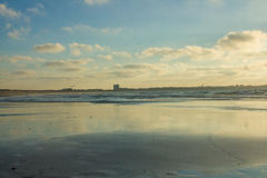 Tha vast sandy of Baleal Beach at low tide in Peniche, Portugal Royalty Free Stock Photography