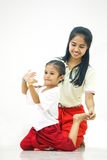 Thacher till den thailändska dansen Fotografering för Bildbyråer