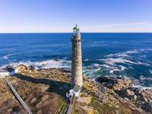 Thacher wyspy latarnia morska, przylądek Ann, Massachusetts obrazy royalty free