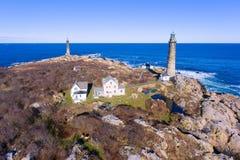 Thacher wyspy latarnie morskie, przylądek Ann, Massachusetts Zdjęcie Stock