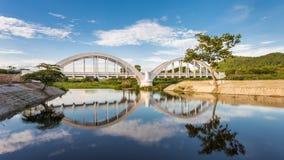 Thachompoo bridge. Bridge was built in World War 2.How long many history stock photo