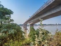 Thai–Lao Friendship Bridge. Vientiane,  Laos. First Thai–Lao Friendship Bridge over Mekong River with blues sky background, taken from Laos. Lan Xang Hom Royalty Free Stock Photo