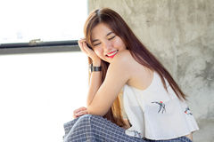 Thai adult beautiful girl relax and smile Royalty Free Stock Photo