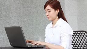 Thai adult businesswoman beautiful girl using computer notebook. Portrait of thai adult businesswoman beautiful girl using computer notebook stock video