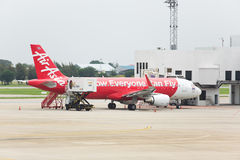 Thai Air Asia Plane landed at Don Mueang International Airport Royalty Free Stock Image