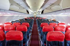 Thai AirAsia. PATTAYA, THAILAND - FEBRUARY 26, 2016: inside Thai AirAsia A320. Thai AirAsia is a joint venture of Malaysian low-fare airline AirAsia and Thailand Royalty Free Stock Photography
