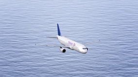 Thai Airlines airplane flying over the sea. Conceptual editorial 3D rendering Stock Images