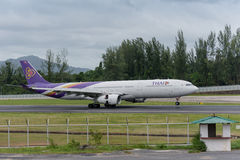 Thai airway Landing at phuket airport Royalty Free Stock Images