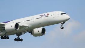 Thai airway plane approach  for landing to suvarnabhumi airport bangkok thailand