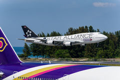 Thai airway star alliance design landing at phuket Stock Photos