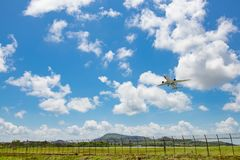 Thai Airway take off from Phuket international Airport royalty free stock photos