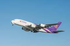 Thai Airways Airbus A380 Fotos de archivo libres de regalías