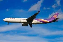 Thai Airways airplane landing at Chiangmai international airport. CHIANGMAI THAILAND - SEPTEMBER 2017 Thai Airways airplane landing at Chiangmai international Stock Image