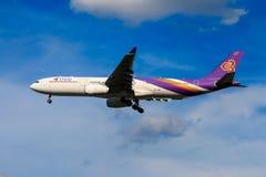 Thai Airways airplane landing at Chiangmai international airport. CHIANGMAI THAILAND - SEPTEMBER 2017 Thai Airways airplane landing at Chiangmai international Stock Photos