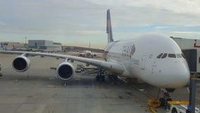 Thai Airways flygbuss A380 på Heathrow Arkivbilder