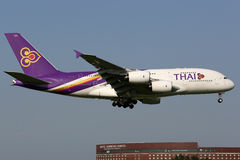 Thai Airways International Airbus A380-800 airplane. Tokyo Narita, Japan - May 16, 2014: A Thai Airways Airbus A380-800 with the registration HS-TUB approaching Stock Image