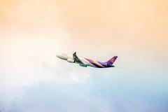 Thai Airways plane in sky Stock Image