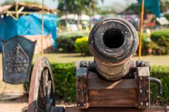 Thai Ancient artillery in Kanchanaburi Thailand. Thai Ancient artillery in front of The Monument of King Naresuan The Great Kanchanaburi Thailand Royalty Free Stock Images