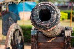 Thai Ancient artillery in Kanchanaburi Thailand. Thai Ancient artillery in front of The Monument of King Naresuan The Great Kanchanaburi Thailand Stock Photography